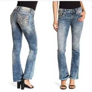ROCK REVIVAL WOMENS BOOTCUT JEANS EMBELLISHED 28